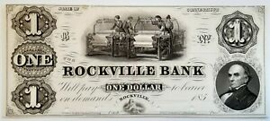 1850s The Rockville Bank $1 Obsolete note PROOF