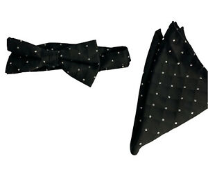 Men's Black Satin Quilted Look Adjustable Bow Tie and Pocket Square Silver Spark