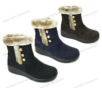 Women's Ankle Boots Winter Fashion Zipper Faux Suede Warm Fur Lined Shoes, Sizes