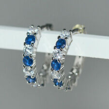 0.40 Ct Round Sapphire and Diamond 14K White Gold Over Engagement Hoop Earrings