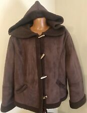 Disney Mickey Coat Hooded Toggle Jacket Stitched Image Faux Suede & Sherpa XXL