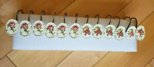 Vintage Croscill Serenity Shower Curtain Hooks Flowers Used