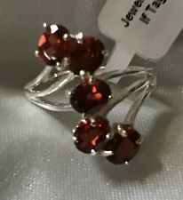 2.5 Ct,  Mozambique Garnet Ring, Cross Over, Sterling Silver, Size M Or P