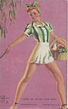 Classic Beauty USA Mutoscope Arcade Card Zoe Mozert - Come on - we're late now