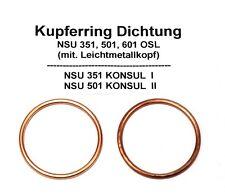 2x (1Paar) Krümmer Dichtung Kupferring für NSU 351, 501, 601 OSL KONSUL I, II