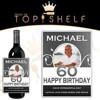 personalised wine photo bottle label milestone birthday any age