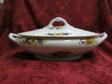 Thun Thu71 Floral Rim & Center, Cream Band: Oval Covered Serving / Vegetable Bow