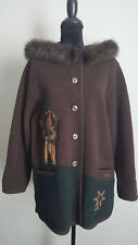 Giesswein Womens Coat 100% Pure Wool Real Fur Size 8 EU 38