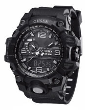 Men Sports Watches OHSEN Alarm Chronograph LED Quartz Casual Wristwatches