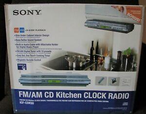 SONY AM-FM CD KITCHEN CLOCK RADIO UNDER CABINET MODEL ICF-CDK50 NEW IN OPEN BOX