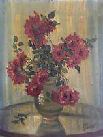 Stillleben mit Roten Blumen Interieur 30er Jahre Art-Deco signiert Ölbild