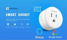 3PCS Geekbes YM-WS-1 Smart Socket 2.4G WiFi work with Alexa and Google home NEW