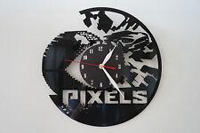 Pixel design vinyl record wall clock [ black matt sticker ] home art office shop