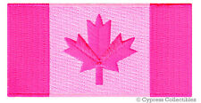 CANADIAN FLAG EMBROIDERED IRON-ON PATCH CANADA EMBLEM ALL PINK VERSION