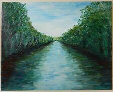 MODERN FINE ART ABSTRACT IMPRESSIONIST RIVER CANAL LANDSCAPE OIL PAINTING CANVAS