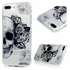 iPhone 7+ / 8+ Plus - TPU Gummy Rubber Slim Case Cover Clear Black Skull Flowers