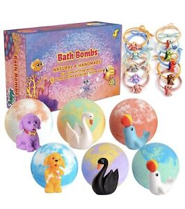 Coufras Set of 6 Organic Bubble Bath Fizzies with Animal Toys