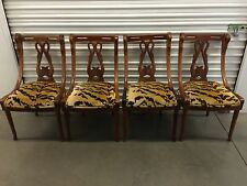 Set Of 4 1920's Carved Mahogany Swan Dining Chairs - Scalamandre Le Tigre Fabric