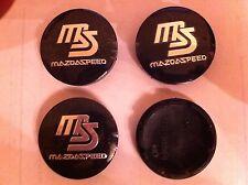 MAZDA SPEED BLACK ALLOY WHEELS CENTRE CAP SET (4)  DIAMETER 56 mm 50 MM CLIP