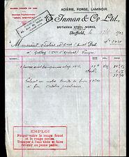 """SHEFFIELD (U.K.) USINE d'OUTILLAGE / ACIERIE FORGE LAMINOIR """"T. INMAN"""" en 1903"""