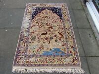 Vintage Shabby Chic Hand Made Traditional Oriental Wool Beige Blue Rug 160x108cm