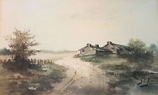 """Old Framed Watercolor Landscape with Road & Buildings Signed """"J.C. Amie"""""""