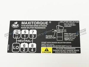 18 speed Mack Transmission T2180 Shift Pattern Decal 9RJ410M8 T2180B T318