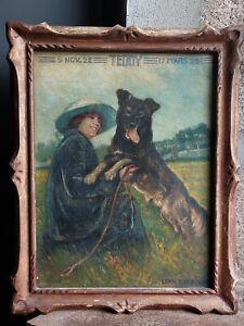 TABLEAU ancien 1920 signé Léon Casaux Peinture huile toile HST femme chien dame