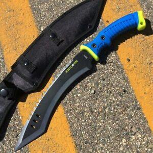 """16"""" Full Tang Tanto Kukri Combat / Survival Knife Machete Blue Rubber Handle -"""