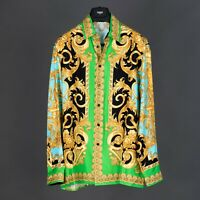 VERSACE 1350$ New Barocco Homme Print Shirt In Silk