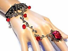 RED ROSE & VINE SLAVE BRACELET black lace cuff ring gothic steampunk lolita O6