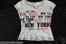 I LOVE NEW YORK*Girls Cap Sleeve T-Shirt*White/Black/Red/Pink*Size Small*Cotton*