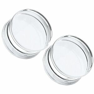 CLEAR Acrylic Ear Plugs Saddle Tunnels Piercing Stretchers Gauges Jewellery PL30