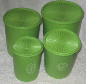 Vintage Servalier Tupperware 4 Piece Nesting Canister Storage Set Green