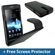 Étui en cuir noir pour Sony Xperia S Smartphone Android titulaire de couverture pare-chocs