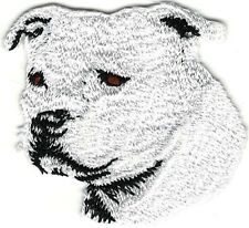"2"" x 2"" White Staffordshire Bull Terrier Portrait Dog Breed Embroidery Patch"