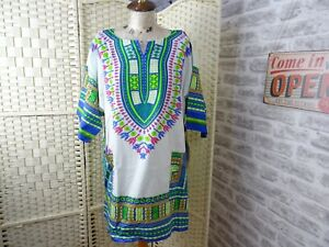 African print cotton unisex traditional Dashiki style top shirt bright L T717
