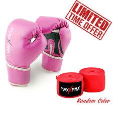"MaxxMMA Pro Style Boxing Gloves 10 oz + 180"" Hand Wrap in Random Color"