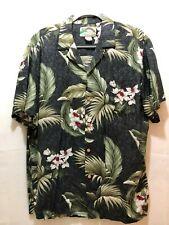 Paradise Found Hawaiian Shirt Men's Large Button Front Flowers & Palms SOFT!!!