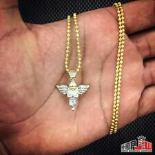 14k Gold Finish Simulated Diamond Angel Pendant Chain Set .925 Silver Mens Bling