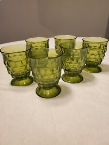 """4 VTG FOSTORIA INDIANA WHITEHALL GREEN FOOTED CUBIST JUICE GLASSES TUMBLERS 4"""""""