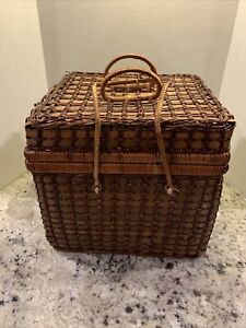 Lovely Vintage Woven Wicker Rattan Picnic Basket, Blue Checkered Lining