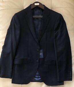 Size 40R in UK, 50R EUR Hackett Suit 100% Plain Wool Jacket Blazer Slim Fit Blue