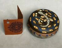 "3"" Clay Genuine Aboriginal Art Round Trinket Box Lizard Motif on Lid, Australia"