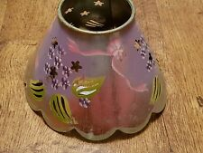 PARTYLITE SILVER METAL PINK LIME FLOWER BOW PAINTED CUT OUT CANDLE JAR SHADE TOP