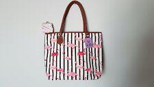 Ladies Flamingo Design Canvas Tote Bag Shoulder Handbag Beach Summer Bag BNWT