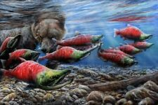The Last Runn - Sockeye Salmon by Kevin Daniel Bear Fish Print 14x11