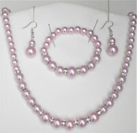 Pink glass pearl and crystal necklace bracelet and drop earring set silver tone