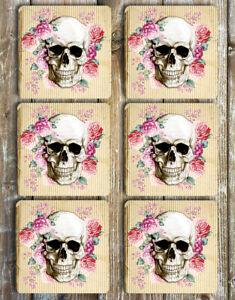 Floral Skull Coasters Set of 6 Non Slip Neoprene Drink Coasters