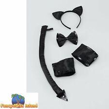 SEXY BLACK CAT ANIMAL SET HALLOWEEN Womens Ladies Fancy Dress Costume Accessory